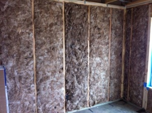 fiberglass batt insulation installed to Grade I quality