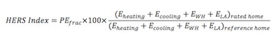 HERS Index equation, interpretred from HERS Standards