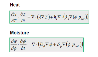 Partial differential equations for heat and moisture flow
