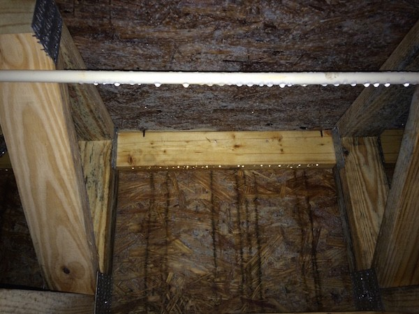 Lots of water on the band joist and floor in this crawl space on a cold day