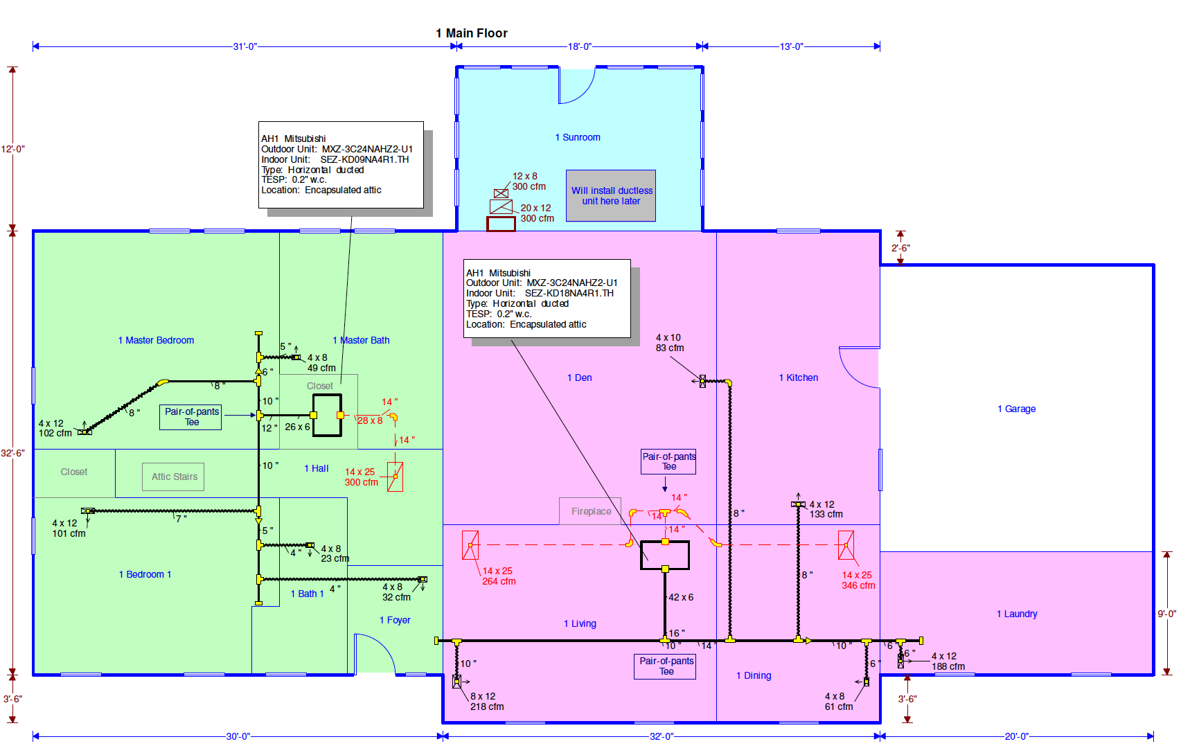 Bailes residence duct plan for Mitsubishi ducted mini-split heat pump with two air handlers