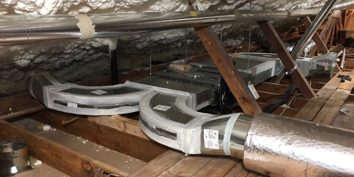The ducted mini-split air handler and ductwork for the bedrooms zone