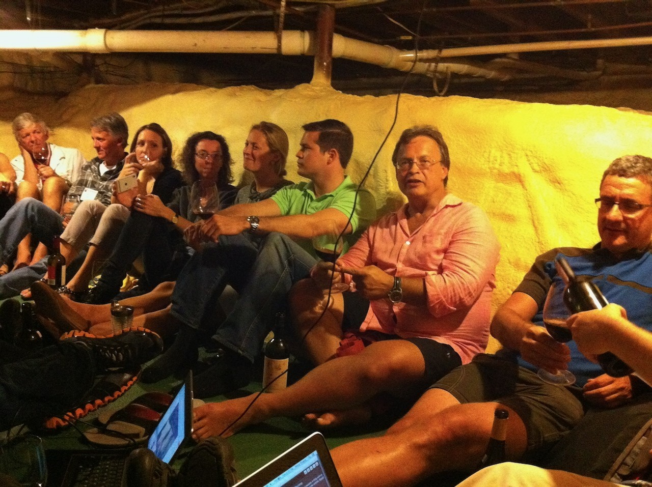 The crawl space wine drinking and Twitterview in 2012.  That's Mike Rogers on the right.