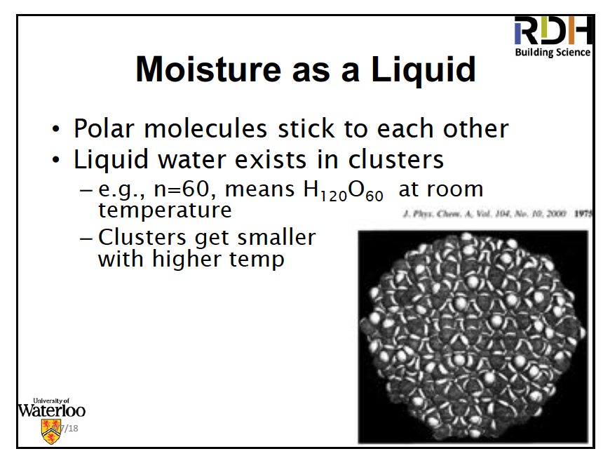 Liquid water clusters - John Straube, Building Science Summer Camp 2018