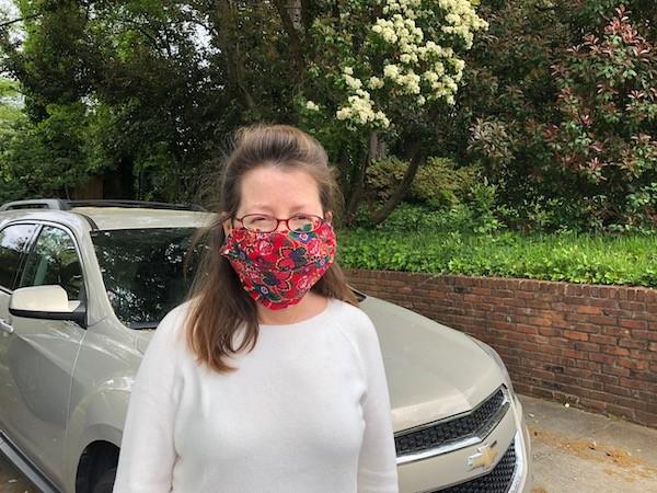 A homemade coronavirus mask, made from a folded bandana and a couple of hair bands