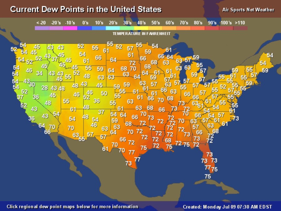 Dew point map for the US  (Screenshot from usairnet.com.  Click to see an updated version.)