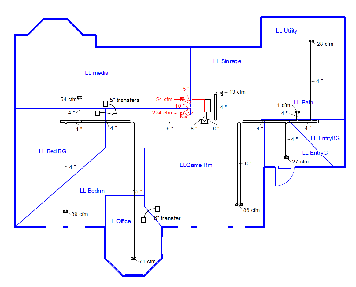Duct design schematic diagram showing vents and air flow