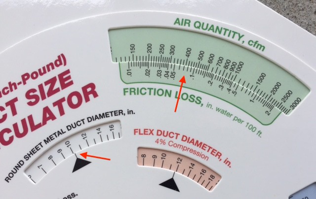 The ASHRAE duct size calculator showing how to find the duct size for a given friction rate and air flow rate