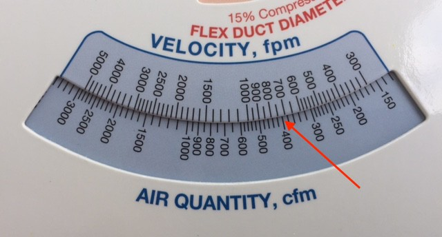 The ASHRAE duct size calculator showing how to check for velocity with a given air flow rate