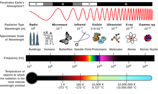 The electromagnetic spectrum  [Image by NASA, used under Creative Commons license]