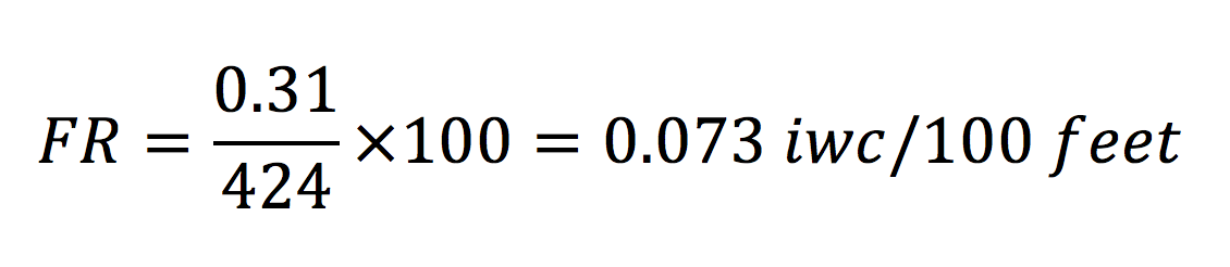 Sample calculation for friction rate in a duct design, with the result in pressure drop per 100 feet
