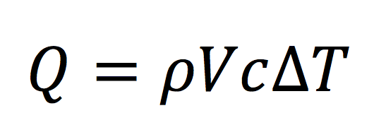 Equation for heat in terms of density, volume, specific heat, and ΔT