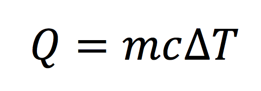 Equation for heat in terms of mass, specific heat, and ΔT