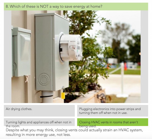 Home energy quiz question on what measure does NOT save energy