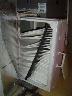 HVAC filter, falling down
