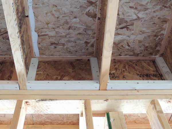 Blocking between I-joists is part of the air barrier (Image credit: Building America Solutions Center. Click to visit page.)