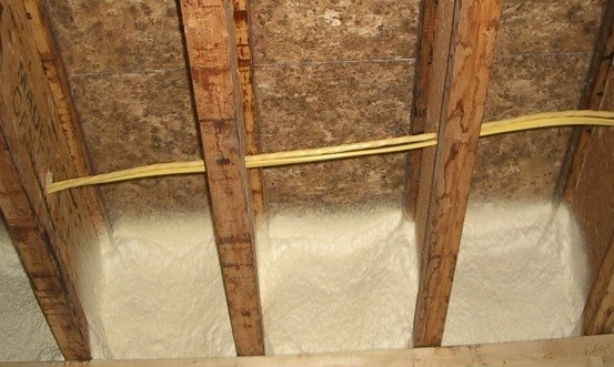Spray foam between joists (Image credit: Building America Solutions Center. Click to visit page.)