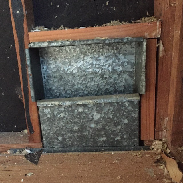 Supply duct boot in an exterior wall, uninsulated