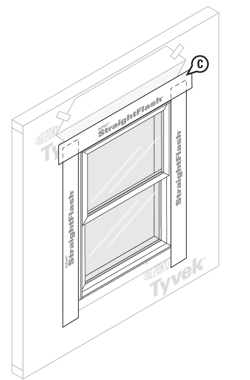 DuPont Tyvek Home Wrap window flashing around header, step 4
