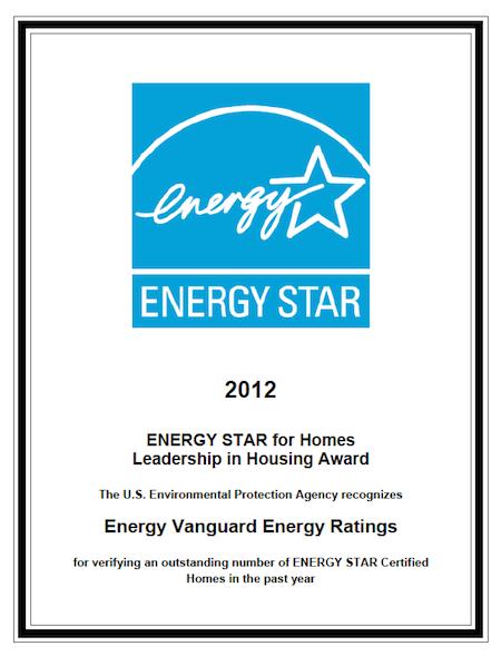 energy star leadership in housing award 2012
