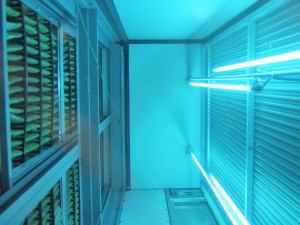 Ultraviolet (UV) lamp installed in air handler to kill microbes on cooling coil and drain pan  [Image from Fresh Aire UV]