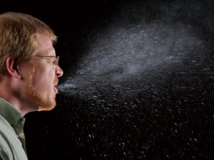 Droplets from a sneeze can travel 18 feet across a room