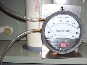 Static pressure measured with a magnehelic pressure gauge