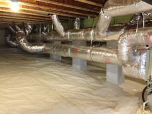 beautiful duct system in a beautiful crawl space