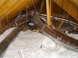 ducts radial system outside building enclosure in attic