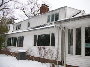 ice dam icicle house air leakage heat loss building science