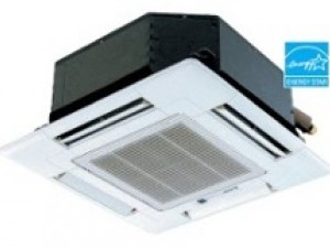 Mitsubishi's City Multi ductless mini-split heat pump, ceiling cassette