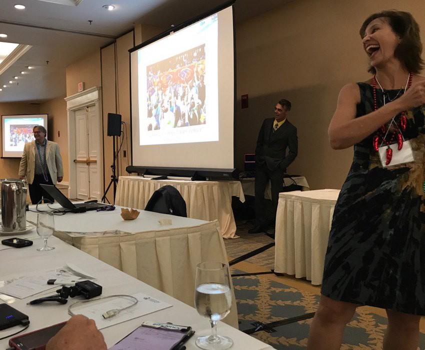 Dr. Claudette Reichel speaking at Building Science Summer Camp 2017 (photo by Neil Randol)