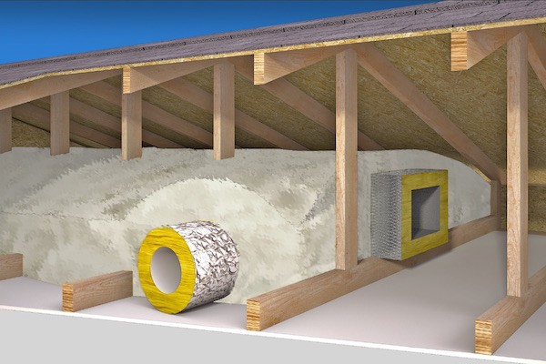 Buried ducts in attic insulation