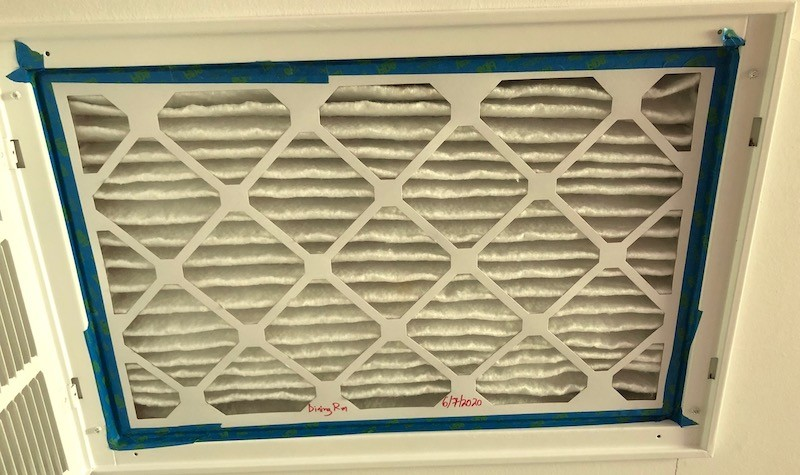 A MERV-13 filter in a return filter grille in my dining room ceiling