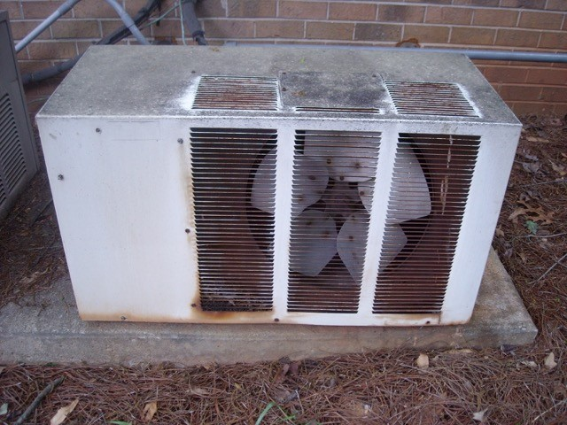 Old air conditioner condensing unit