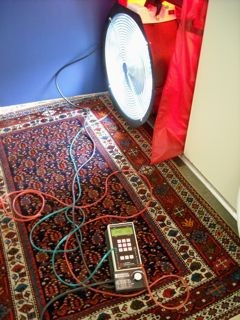 Blower Door test measuring infiltration through the building envelope