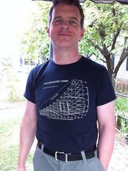 Henry Gifford wearing a psychrometric chart T-shirt