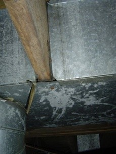 Panned joist return duct in HVAC system, poor HVAC design, lots of duct leakage