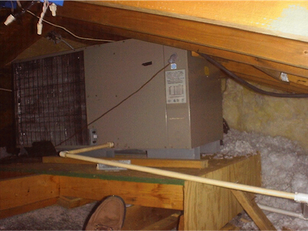 hvac air conditioner condensing unit in attic 1 small & Does a Heat Pump or Air Conditioner Condenser Need to Go Outdoors?