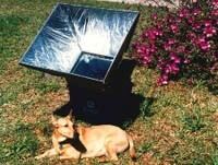 Solar cooker gathering the Sun's energy to cook a meal