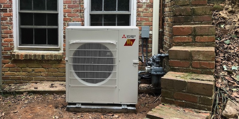 The Outdoor Unit For Our New Mitsubishi Inverter-driven Mini-split Heat Pump System