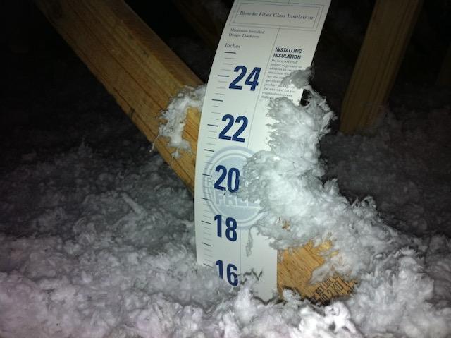 A depth marker for blown fiberglass insulation in an unconditioned attic
